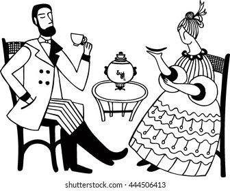 Vector illustration with russian tea-party. Isolated lady and gentleman and samovar. Nineteen century people. Retro card. Vintage cafe.