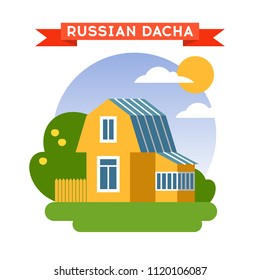 Vector illustration of russion dacha house in flat style with fence and garden