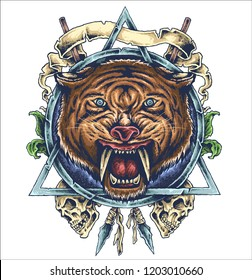 vector illustration of sabertooth ancient prehistoric tiger