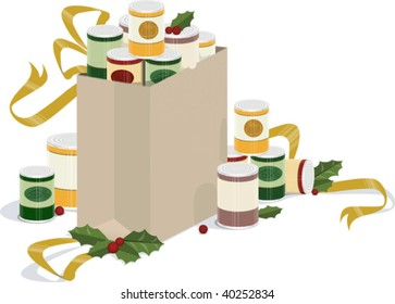 a vector illustration of a sack of canned goods overflowing with holly and ribbons