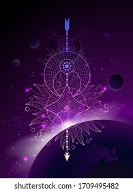 Vector illustration of Sacred geometric symbol against the space background with sunrise and stars.  Image in purple color.