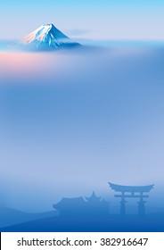 Vector illustration of sacred Japanese Torii gates and Fuji mountainFuji and torii