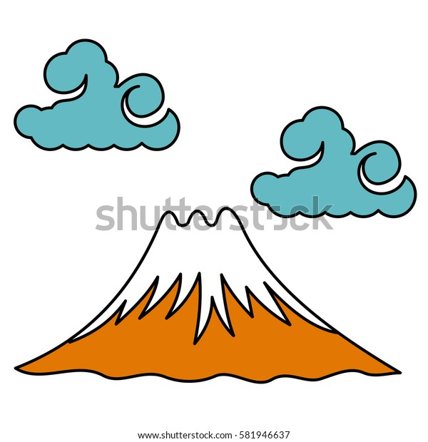 Vector illustration the sacred Mount Fuji. Traditional Japanese symbol. Advertisements, signs, stickers, web banners, signage. Isolated on a white background.