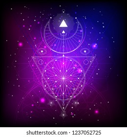Vector illustration of Sacred or mystic symbol on abstract background. Geometric sign drawn in lines. Multicolored. For you design and magic craft.