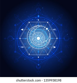 Vector illustration of Sacred or mystic symbol on abstract background. Geometric sign drawn in lines. Blue color. For you design and magic craft.