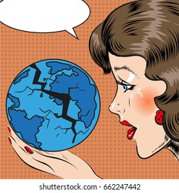 Vector illustration of sad beautiful woman looking at cracking globe in her hand, thought bubble. The whole world is falling apart concept design element in retro pop art comic style.