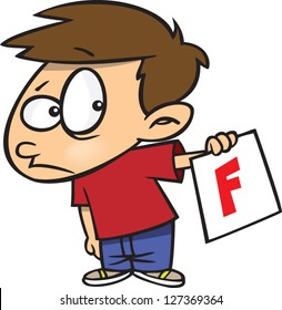 A vector illustration of sad cartoon boy holding up an f grade on his report card