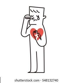 Vector illustration - Sad and crying man