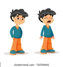 Vector Illustration of Sad Crying Young Boy Body Language and Expressions