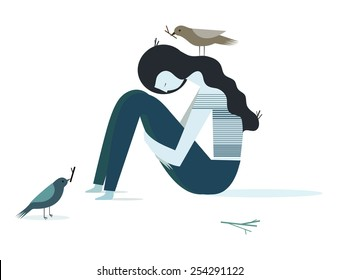 Vector illustration of sad and depression girl sitting on the floor.