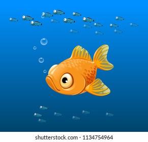 vector illustration of sad fish, yellow fish, goldfish, yellow stripes, cartoon, big eyes, ocean, sea, marine fish, tropical fish, seabed, underwater world