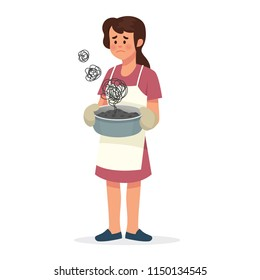 vector illustration of sad mother because her cooking failed, mother standing and holding burnt food in pan