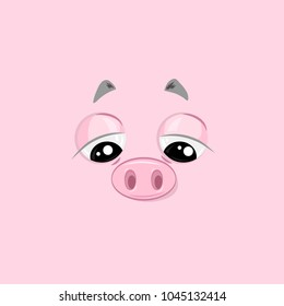 Vector illustration of the sad pig face on pink background.