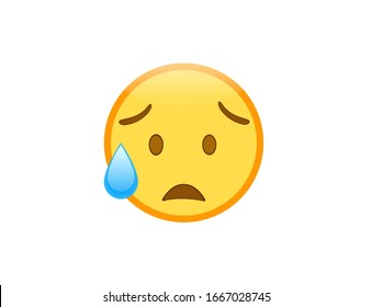 Vector illustration of sad but relieved face emoji