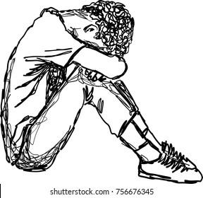 vector illustration, sad young man hug his knee and cry