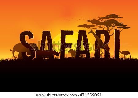 Vector illustration safari text design on stock vektorgrafik