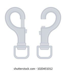 Vector illustration of safety carabiner clip isolated on white background. Carbine clip, open and closed in flat style. Dog leash fastener.