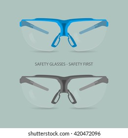 Vector illustration of safety glasses. Two pieces, one in blue tones, one in grey tones.
