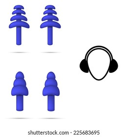 Vector illustration of safety rubber blue flange ear plugs