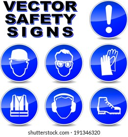 Vector illustration of safety signs on white background
