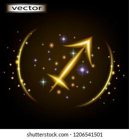 Vector illustration of Sagittarius horoscope, astrological prediction prediction by zodiac sign.
