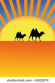 vector illustration of sahara with camel and sun