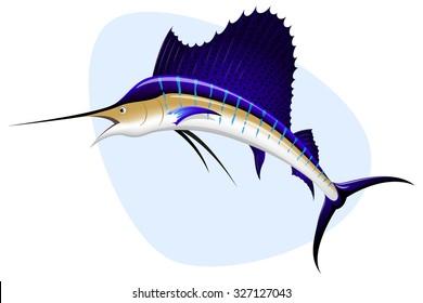 Vector illustration of a sailfish.