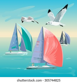 Vector illustration of a sailing regatta. Sailing into the sunset, seagulls, ocean and romance.