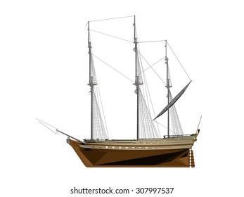 Vector illustration of a sailing ship. Isolated. 3D. EPS 8.