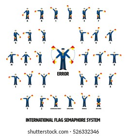Vector illustration of sailors performing ten international flag semaphore alphabetic system. All objects grouped, named and layered.