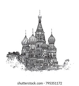 Vector illustration of Saint Basil's Cathedral in Moscow.