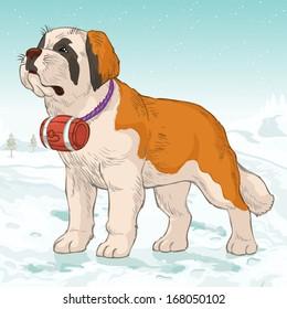 Vector illustration, Saint Bernard dog, cartoon concept.