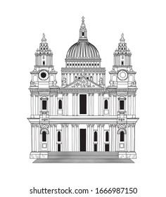 Vector illustration of Saint Paul's Cathedral in London in black and white sketch style