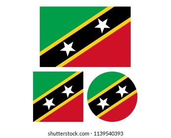 vector illustration of Saint Kitts and Nevis flags