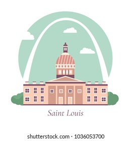 Vector illustration of Saint Louis's Gateway arch and Old courthouse