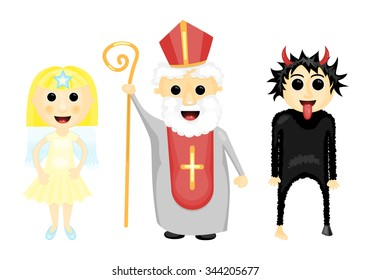 Vector illustration of Saint Nicholas, angel and devil (traditional feast)