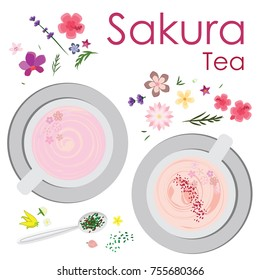 vector illustration for sakura tea with pink flowers and leaves decoration in two mugs