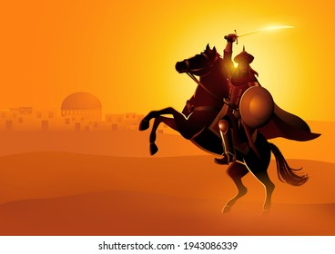 Vector illustration of Saladin ibn Ayyub a Muslim military and political leader who as sultan led Islamic forces during the Crusades
