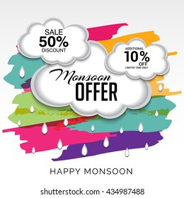 Vector illustration of Sale, banner, discount, offer, poster for Monsoon Season.