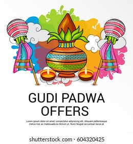 Vector illustration of a Sale Banner for Occasion of Gudi Padwa Celebration (Lunar New Year).