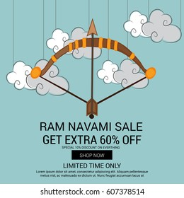 Vector illustration of a Sale Banner for Ram Navami.
