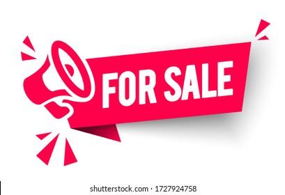 Vector Illustration For Sale Label. Modern Web Banner With Megaphone Speaker Icon