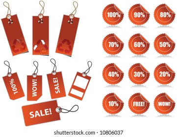 Vector illustration of sale labels and recycling tags