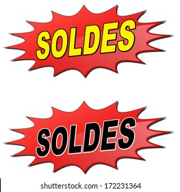 vector illustration of sale star (french text)
