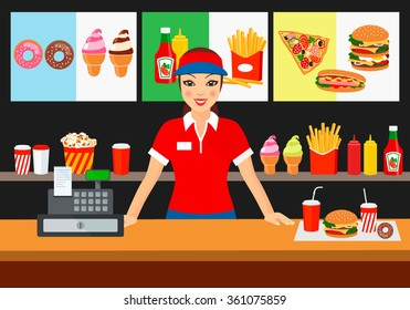 Vector illustration of a salesman in a fast food restaurant, smiling customer. to demonstrate the food and advertising products.