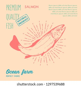 Vector illustration - Salmon fish. Outline drawing