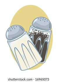 vector illustration of salt and pepper shakers