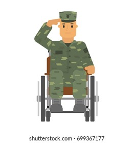 Vector illustration saluted soldier in wheelchair isolatedon white background