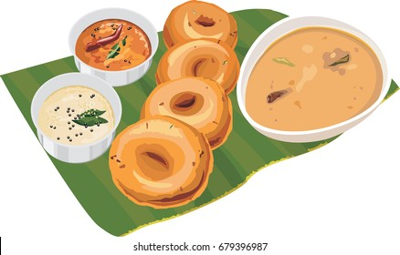 Vector illustration of Sambar / Medu Vada over coconut leaf with chutney