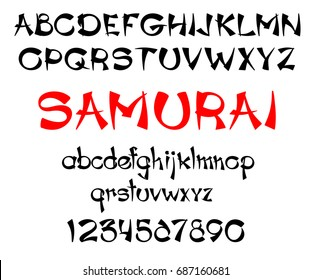 Vector illustration of samurai black and red colored font.